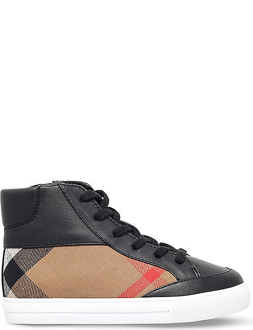 BURBERRY Mini haypark canvas and leather trainers 5-9 years