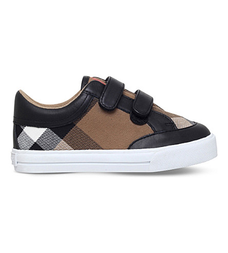 BURBERRY 迷你 heacham 帆布和皮革运动鞋5-8 年 (黑色