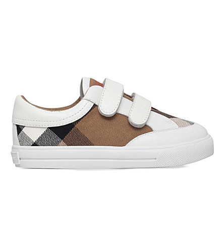 BURBERRY Mini Heacham canvas and leather trainers 5-9 years (White