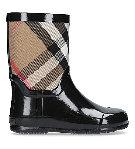 BURBERRY Ranmoor checked rubber wellington boots 4-8 years (Blk/other