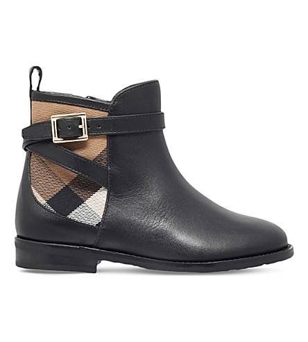 BURBERRY Mini richardson leather boots 5-8 years (Black