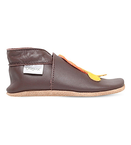 BOBUX Chocolate Tiger leather shoes 6 months-3 years (Brown
