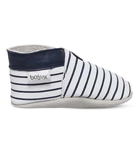 BOBUX Striped leather shoes 6 months-3 years (White/navy