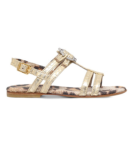 ROBERTO CAVALLI Snake-embossed metallic sandals 5 - 9 years (Gold