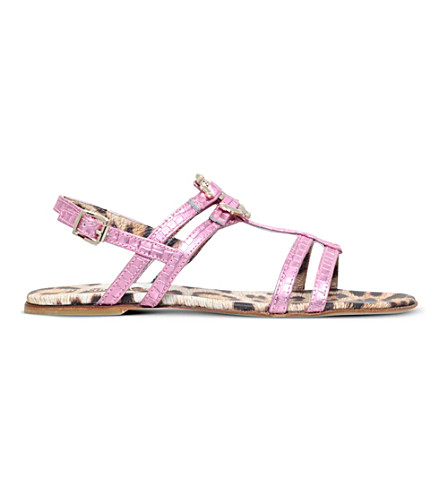 ROBERTO CAVALLI Snake-embossed leather sandals 6months - 2years (Pink