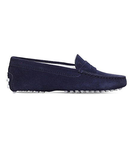 TODS Mocassino gommini suede driving shoes 6-9 years (Navy