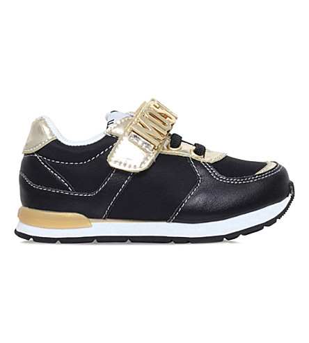 MOSCHINO Logo leather trainers 3-5 years (Black