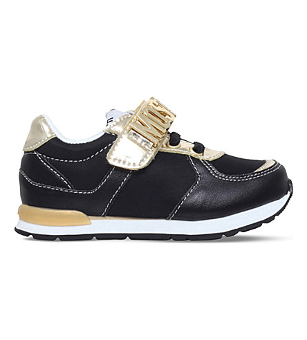 MOSCHINO Logo leather trainers 6-8 years (Black
