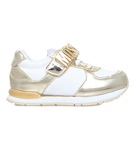 MOSCHINO Logo leather trainers 3-5 years (White/oth