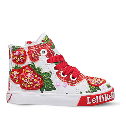LELLI KELLY Strawberry sequinned canvas trainers 3-9 years (Pink+comb