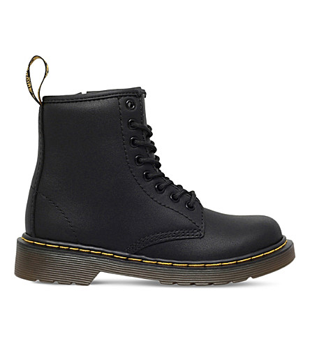 DR MARTENS Junior delaney leather boots 6-9 years (Black