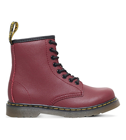 DR MARTENS Delaney leather boots 6-9 years (Red/dark