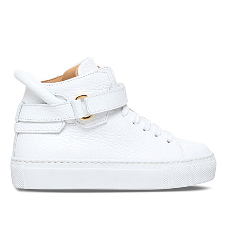BUSCEMI 100mm toddler leather high-top trainers (White