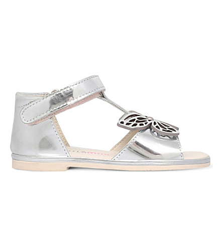 SOPHIA WEBSTER Flutterby metallic-leather sandals 2-8 years (Silver