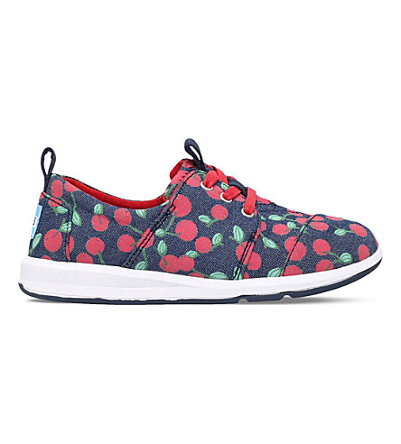 TOMS Del Rey cherry print trainers 7-11 years (Blue+other
