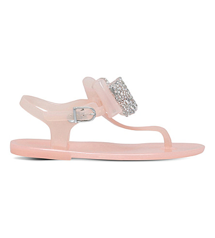 MINI MISS KG Mini Daisy rubber glitter bow sandals 6-9 years (Nude