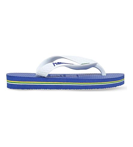 HAVAIANAS Brasil logo rubber flip flops 3-7 years (Blue