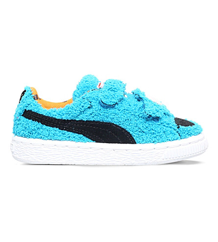 PUMA Cookie monster basket velcro trainers 2-5 years (Blue