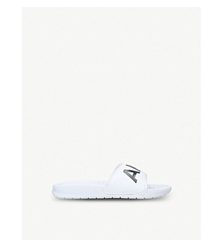 AKID Aston leather and rubber sliders 6 months-10 years (White