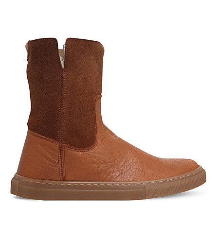 MINI MISS KG Panelled suede and leather boots 7-11 years (Tan