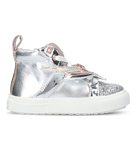 MINI MISS KG Shooting Star metallic high-top trainers 3-7 years (Silver
