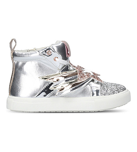 MINI MISS KG Shooting Star metallic high-top trainers 7-10 years (Silver