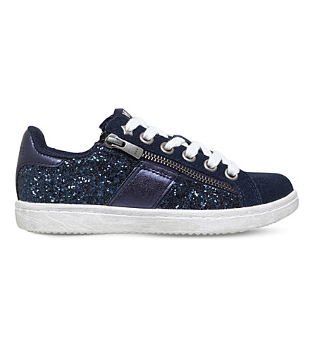 MINI MISS KG Go Faster suede and glitter trainers 4-7 years (Navy