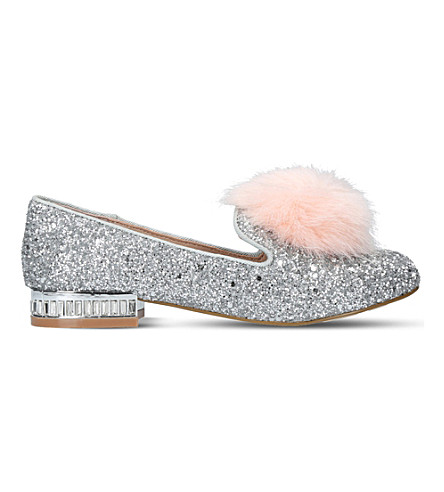 MINI MISS KG Mini Lap glitter-embellished loafers 7-9 years (Silver