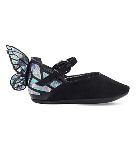 SOPHIA WEBSTER Chiara butterfly suede ballet flats (Black