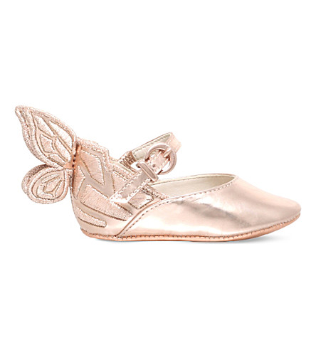 SOPHIA WEBSTER Chiara butterfly leather ballet flats 0-6 months (Bronze