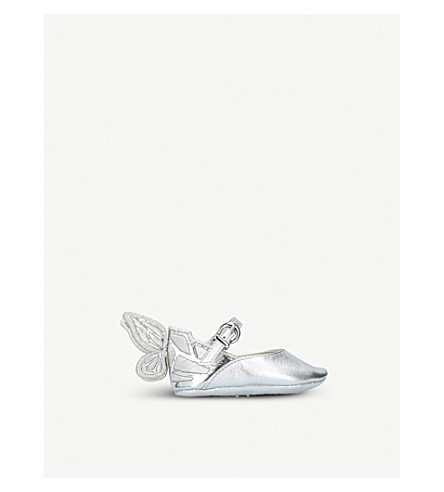 SOPHIA WEBSTER Chiara baby embroidered metallic leather pumps 4-6 months (Silver