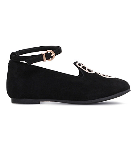 SOPHIA WEBSTER 小碧蝶迷你绒面革芭蕾平底鞋 2-8 岁(黑色