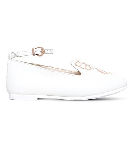 SOPHIA WEBSTER 碧迷你蝶绒面革芭蕾平底鞋 2-8 岁(白色