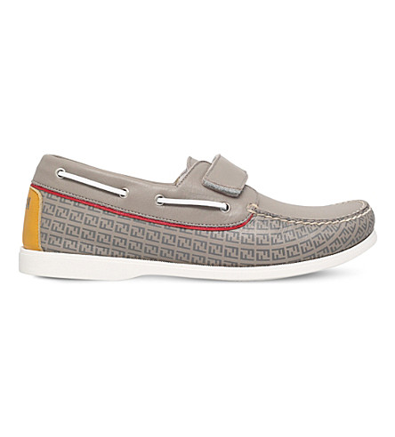 FENDI Rupert logo-print leather deck shoes 3-5 years (Grey