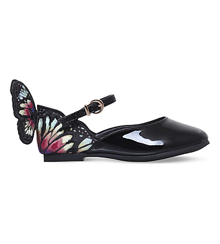 SOPHIA WEBSTER Chiara Butterfly patent leather ballet flats 2-8 years (Blk/other