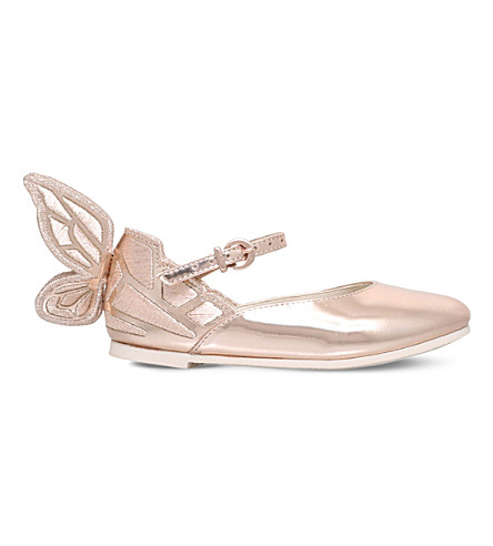 SOPHIA WEBSTER Chiara Mini butterfly leather flats 2-8 years (Bronze