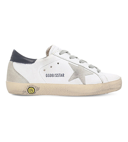 GOLDEN GOOSE Superstar distressed leather trainers 6-9 years (White