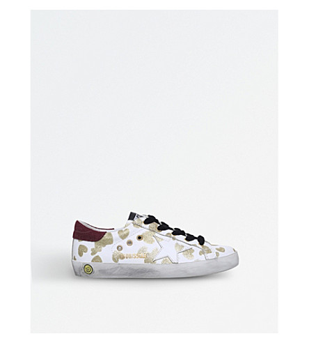 GOLDEN GOOSE Superstar glitter-detail leather trainers (White/red