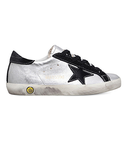 GOLDEN GOOSE Superstar leather sneakers 6-9 years (Silver