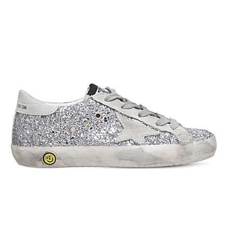 GOLDEN GOOSE Superstar glitter trainers 6-9 years (Silver