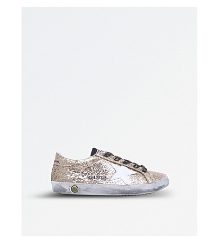 GOLDEN GOOSE Superstar glitter trainers 6-9 years (Gold+comb