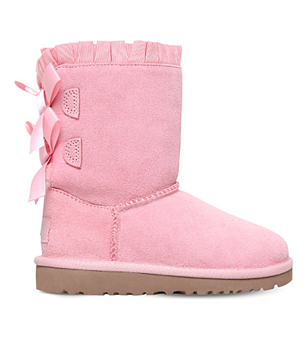 UGG Bailey Bow Ruffles suede boots 2-7 years (Pale pink