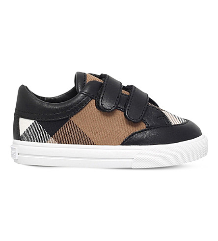 BURBERRY Heacham check-print canvas and leather trainers 8-11 years (Black
