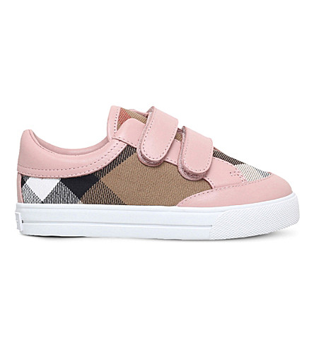 BURBERRY Mini Heacham checked canvas and leather 3-5 years (Pink