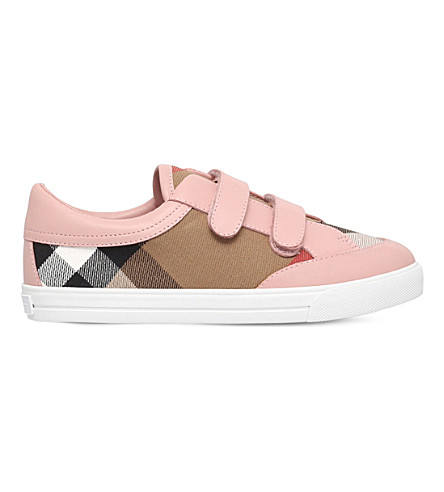BURBERRY Mini Heacham checked canvas and leather 5-9 years (Pink