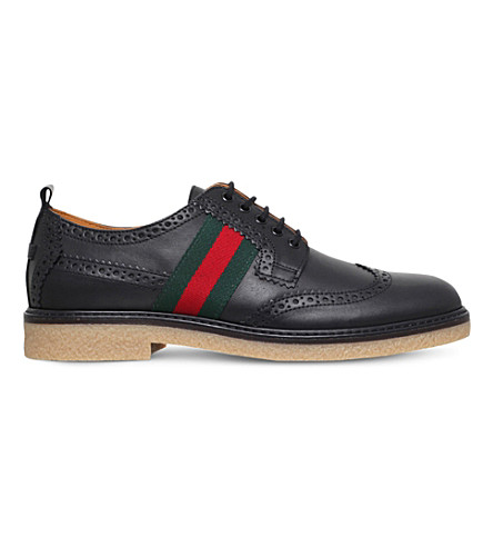 GUCCI Leather derby brogue shoes 8-10 years (Black