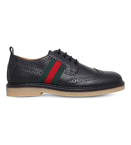 GUCCI Leather derby brogue shoes 4-8 years (Black