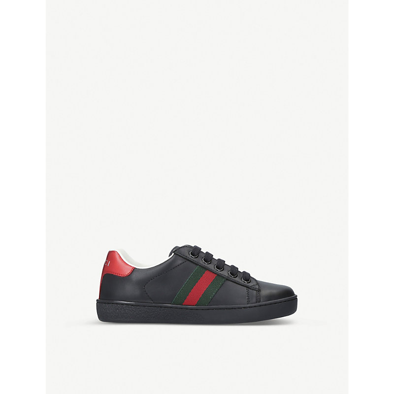 GUCCI | Gucci New Ace Leather Trainers 5-8 Years, Size: EUR 31 / 12.5 UK KIDS, Black | Goxip