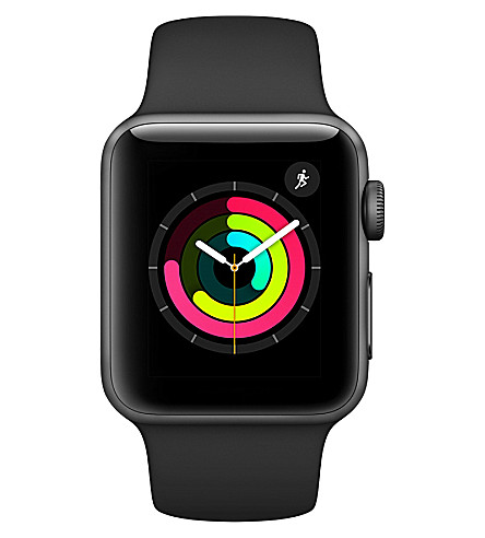 APPLE Apple Watch Series 3 GPS + Cellular Space Grey Aluminium Case with Black Sport Band 38mm (Black
