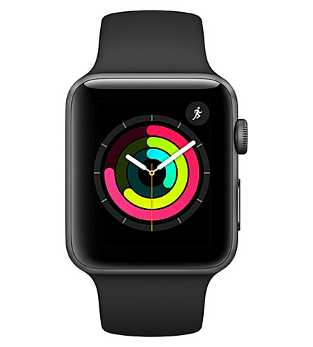 APPLE Apple Watch Series 3 GPS + Cellular Space Grey Aluminium Case with Fog Sport Band 42mm (Black